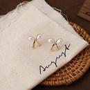 wholesale simple bow inplaid pearl small earrings NHMS344937