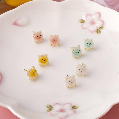 cartoon mini bear candy color acrylic earrings NHMS344945's discount tags
