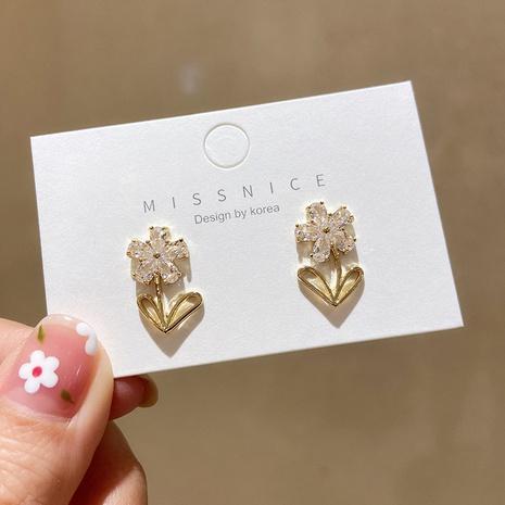 Pendientes coreanos de flores pequeñas de circonitas con micro incrustaciones NHMS344948's discount tags