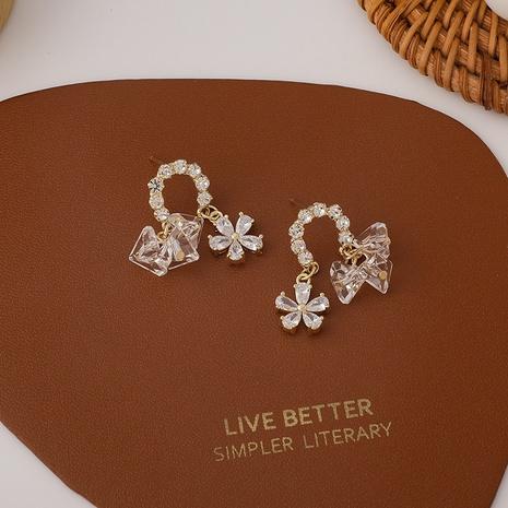 Pendientes coreanos de flores de cristal de circonita con micro incrustaciones NHMS344953's discount tags