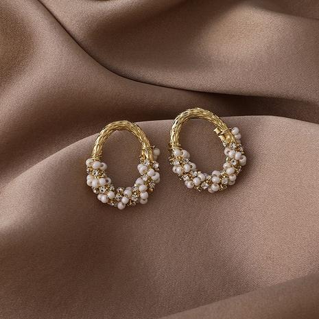 wholesale retro crystal pearl beaded wreath earrings  NHMS344959's discount tags