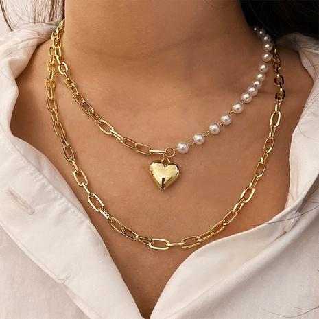 Al por mayor cadena de clavícula multicapa colgante de perlas de corazón de moda NHPJ344973's discount tags