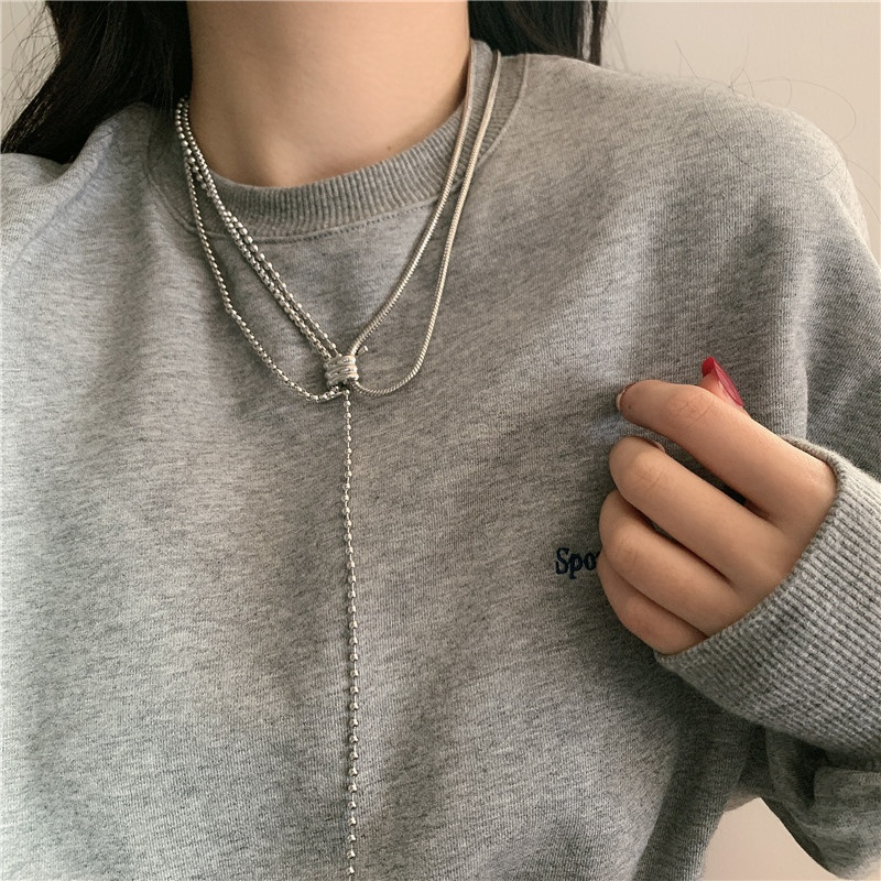 hiphop metal round bead chain stacking clavicle chain  NHYQ344978