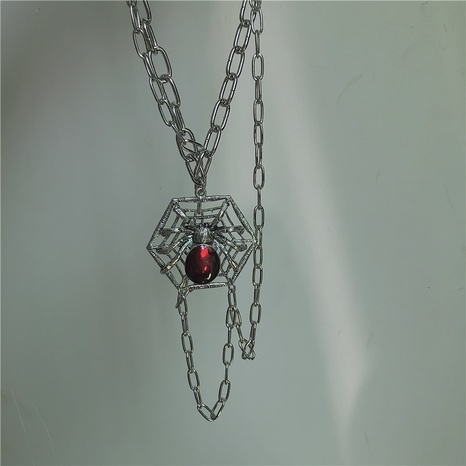 collar de cadena de borla multicapa de rubí araña de moda NHYQ344979's discount tags