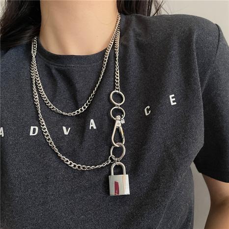 Al por mayor colgante de bloqueo de moda collar de metal de múltiples capas NHYQ344977's discount tags