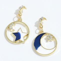 Großhandel Mode Legierung Diamant Stern Mond Ohrringe NHJQ345201