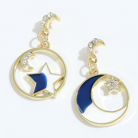 wholesale fashion alloy diamond star moon earrings NHJQ345201's discount tags