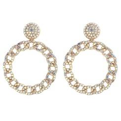 Großhandel Mode Legierung Diamant Kreis Twist Ohrringe NHJQ345205