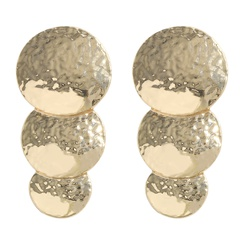 einfache Legierung galvanisierende Goldscheibe lange Ohrringe NHJQ345203