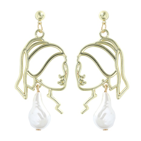 fashion electroplating gold alloy inlaid pearl portrait earrings  NHJQ345200's discount tags