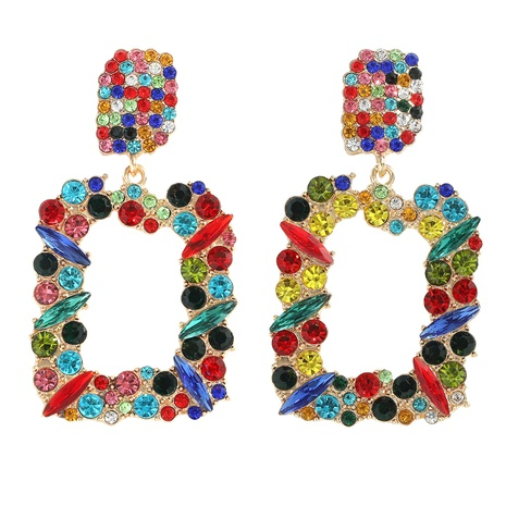 Fashion Alloy Colorful Diamond Geometric Big Earrings  NHJQ345207's discount tags