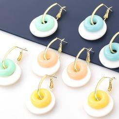 Großhandel koreanische Bonbon Farbe mehrschichtige runde Harz Ohrringe NHJE345209