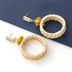 Mode Rattan gewebte runde Ohrringe aus Acryl mit Diamantnieten NHJE345210