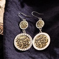Hohl geschnitzte Ohrringe aus Retro-Legierung im Großhandel NHAKJ345215