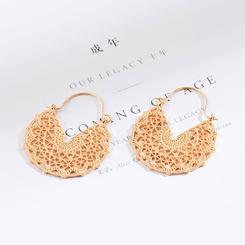 hohle halbrunde geschnitzte Ohrringe aus Retro-Legierung im Großhandel NHAKJ345216