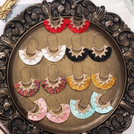 bohemian geometric hollow fan-shaped tassel earrings  NHAKJ345222's discount tags