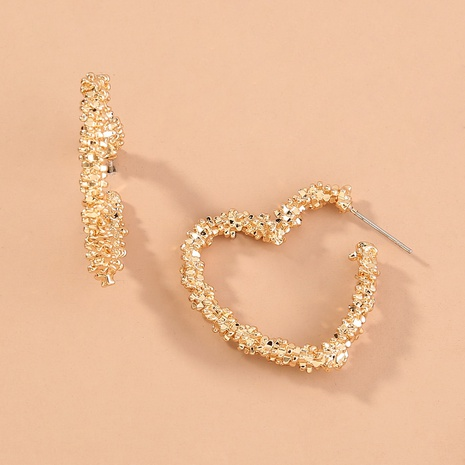 Fashion Geometric Heart-shaped Embossed Earrings NHAN345241's discount tags