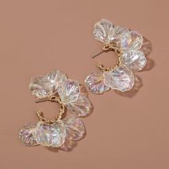Einfacher transparenter Blütenblatt-Ohrstecker NHAN345248