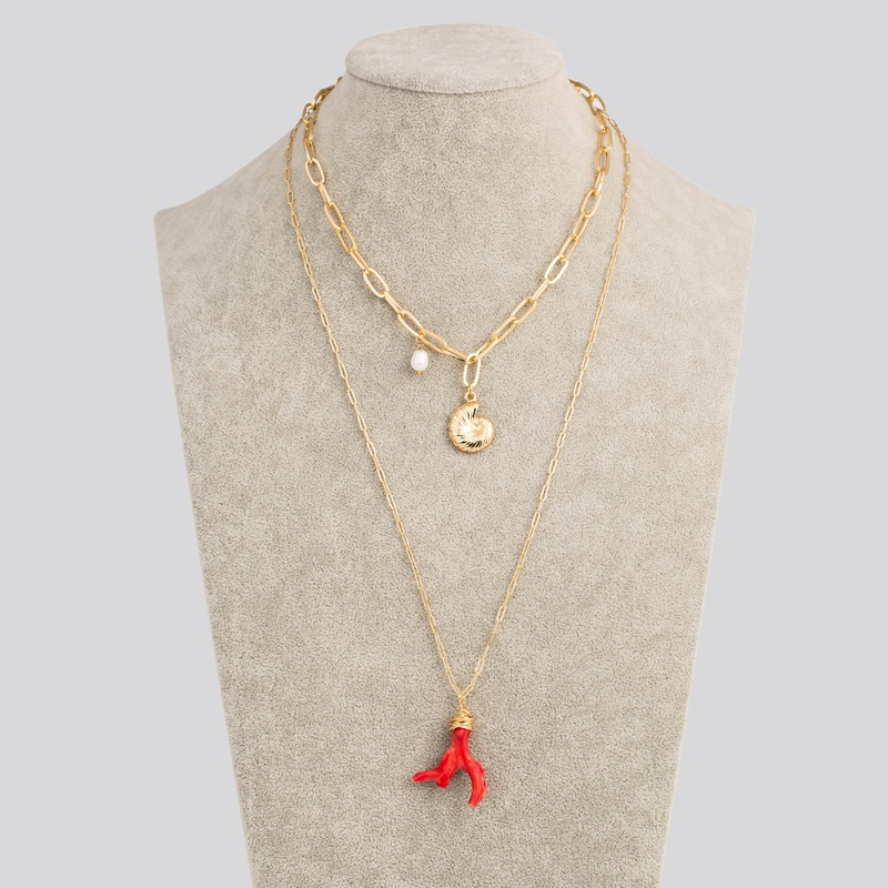 fashion pearl metal conch coral stone pendant multilayer necklace NHAN345257