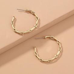 Großhandel Mode Metallgitter C-förmige Ohrringe NHAN345260