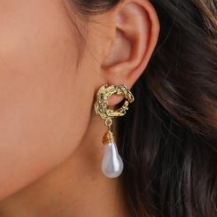 Großhandel Mode speziell geformte Perlenmetall Ohrringe NHAN345263
