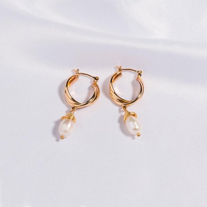 fashion gold thread winding natural freshwater pearl earrings NHAN345264