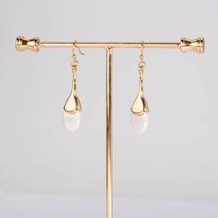 Großhandel koreanische ovale flache Perle lange Ohrringe NHAN345265