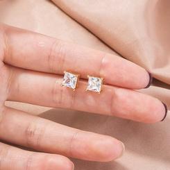 Mode neue Stil mikro-eingelegte goldene quadratische Zirkon Ohrringe NHAN345277