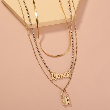 Mode Brief Schloss geformte Strass Krallenkette mehrschichtige Halskette NHAN345283's discount tags