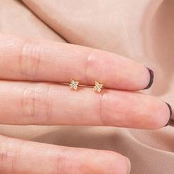 Mode neue goldene Mini-Blume vierblättrige Kleeblatt Zirkon Ohrringe NHAN345288
