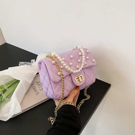 sac de messager d'épaule de couleur unie incrusté de perles de mode NHJZ345465's discount tags