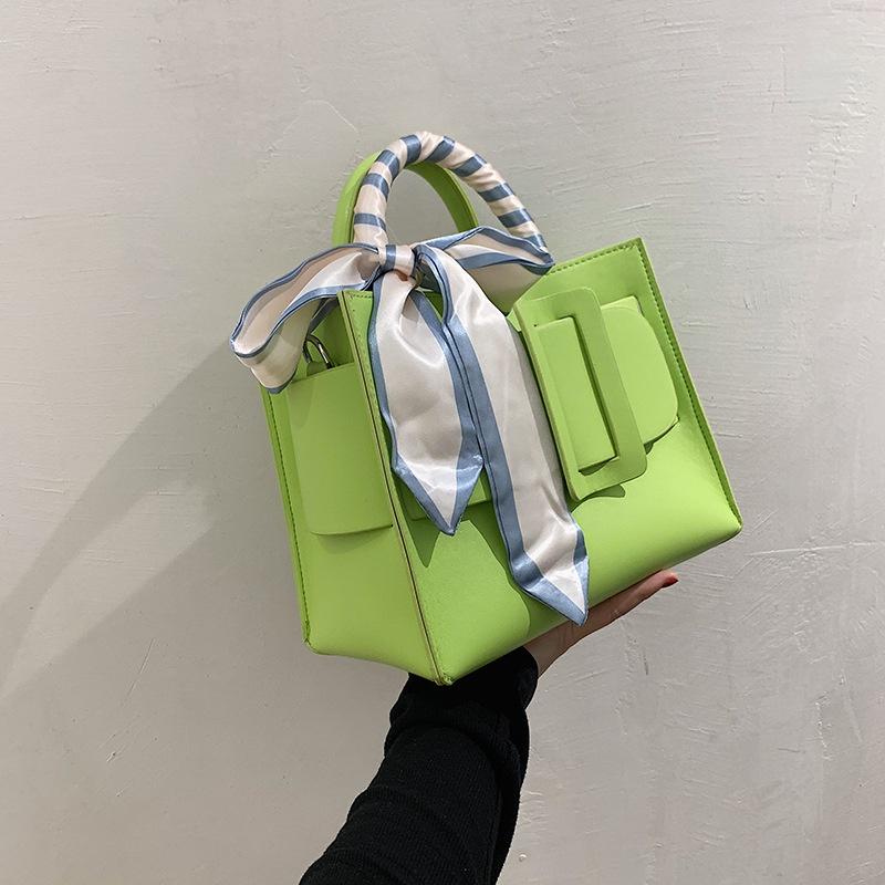 fashion contrast color silk handle oneshoulder messenger bag  NHJZ345480