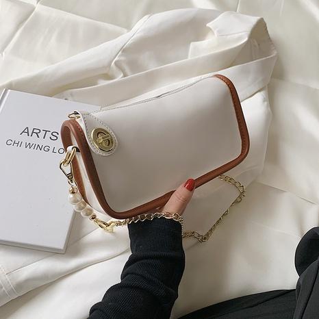 sac à bandoulière simple à une épaule en chaîne en métal perlé blanc NHJZ345482's discount tags