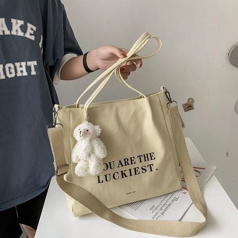 sac besace en toile simple lettre grande capacité à une épaule NHJZ345483's discount tags