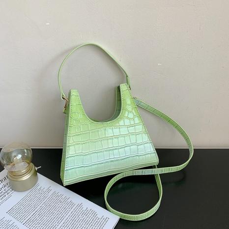 sac porté épaule rétro à motif crocodile de couleur unie NHJZ345487's discount tags