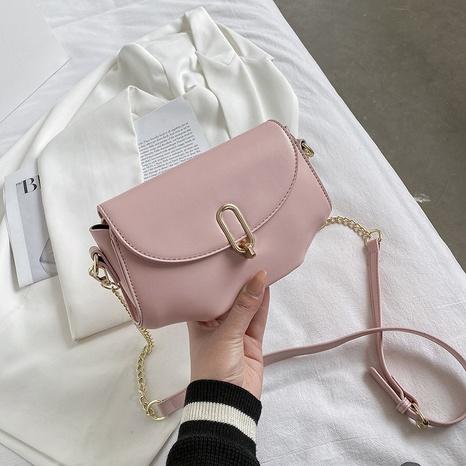 sac de selle à une épaule en métal de couleur unie à la mode NHJZ345491's discount tags