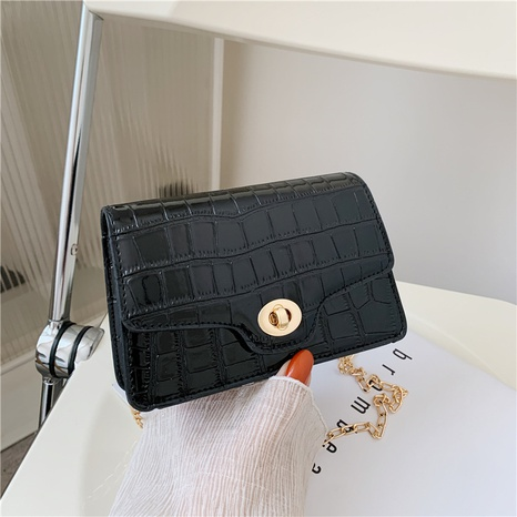 sac à bandoulière rétro à une épaule avec chaîne en métal à motif crocodile de couleur unie NHRU345507's discount tags