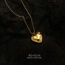 fashion peach heart full diamond long necklace NHOK345510