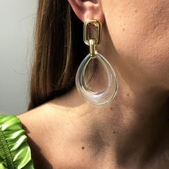 neue einfache Harz transparente geometrische hohle kreative Ohrringe NHMD345512