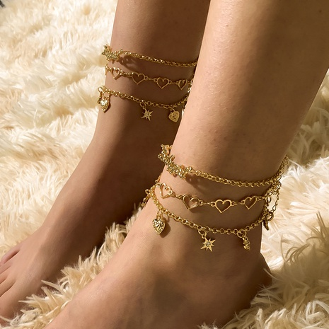 Simple multi-layer heart chain alloy rhinestone anklet set NHXR345539's discount tags