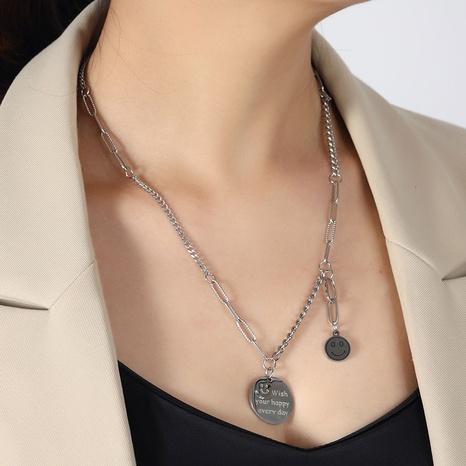 Koreanische Metallkette runde Smiley Titan Stahlkette Großhandel NHSC345619's discount tags