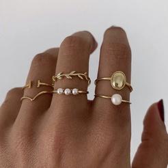 Mode einfachen Stil Perlenring Set NHAJ345603