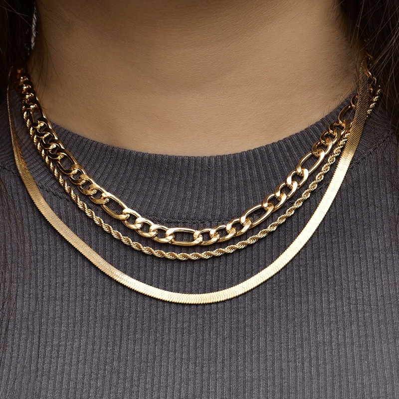 fashion twist flat snake chain multilayer necklace NHAJ345600