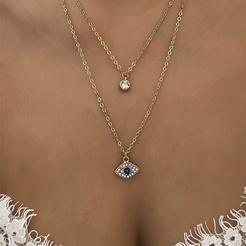 Mode neuen Stil einfache diamantbesetzte zweilagige Halskette NHOT345592