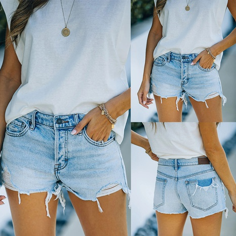 Summer fashion ripped fringed solid color denim shorts NHWA352722's discount tags