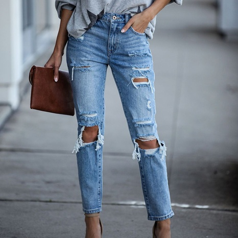 Ripped straight solid color denim trousers women jeans NHWA352727's discount tags