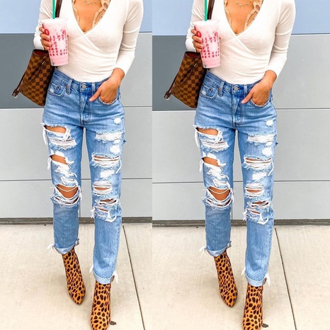 Summer ripped solid color slim slim denim trousers women jeans NHWA352724's discount tags