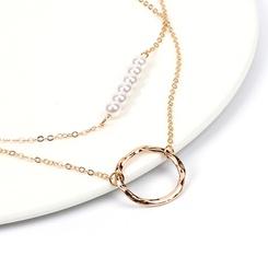 Mode geometrische Perle mehrschichtige Kupfer Halskette Großhandel NHRN345647