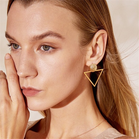 wholesale fashion asymmetric triangle earrings NHRN345646's discount tags