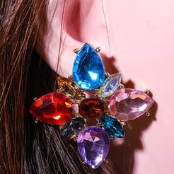 Mode geometrische Blütenblatt Glas Kristalllegierung Ohrringe Großhandel NHYAO345650